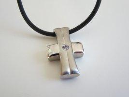 Necklace silver-colored-black