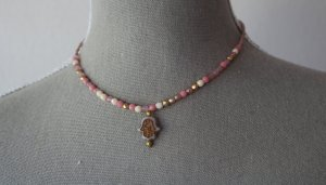 Handarbeit Collar de perlas color bronce-rosa