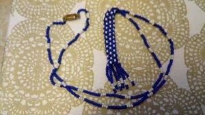 Halskette handgemacht aus blauen und weißen Rocailleperlen