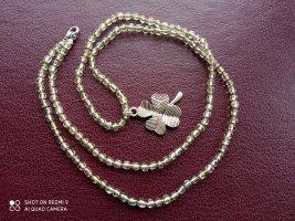Halskette hellgrün hellrosa Glücksklee Kleeblatt handgemacht