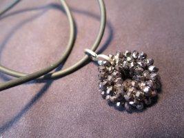 Halskette, Kautschuk/Silber925/1000, mit Anhänger, Onyx und Zirkonia