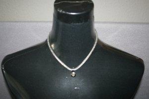 Halskette mit Anhänger + Stein silberfarben - Modeschmuck