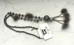 Number One Necklace silver-colored-grey