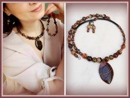 Halskette, Ohrringe, Armband mit Natursteinen Achat Collier  Set
