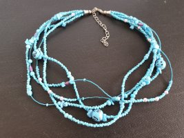 Collar de perlas azul bebé-azul claro