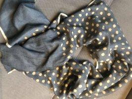 Wollen sjaal donkerblauw-licht beige