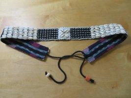 Vintage Cinturón pélvico blanco puro-negro tejido mezclado