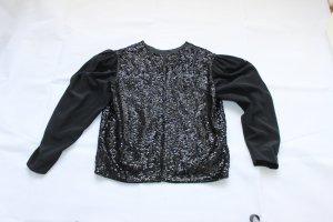 Handgefertigte Pailletten Jacke schwarz
