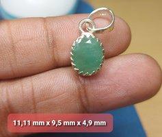 Handgefertigter Silber Anhänger mit Smaragd ( 11mm) (NEU)