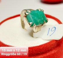 SmD Pierścionek z ozdobnym kamieniem srebrny-zielony