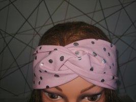 Handmade Haarband neu rosa mit Silbertupfen