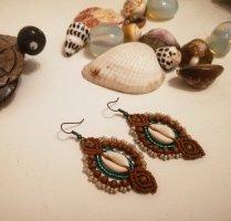 Handmade Makramee Ohrringe Kaurimuschel