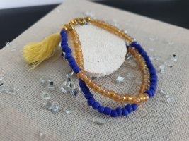 Handmade Miniperlen Armband Blau Senf Neu Boho DIY Armschmuck Schmuck
