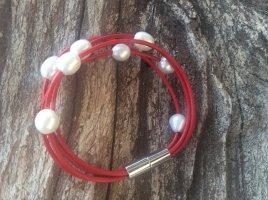 Bracelet en perles rouge brique-noir