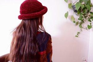 True Vintage Knitted Hat bordeaux mixture fibre