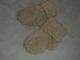 Handmade Woll-Söckchen kuschelig & warm NEU natur