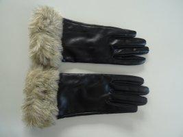 H&M Rękawiczki z imitacji skóry czarny-piaskowy brąz