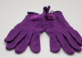Bont handschoenen donkerpaars