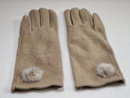 Bont handschoenen beige-camel