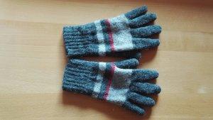 Handschuhe hellgrau dunkelgrau gestreift aus Wolle Größe S (6/7)