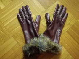 Faux Leather Gloves blackberry-red-brown violet