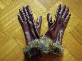 Handschoenen van imitatieleder braambesrood-bruin-paars