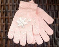 Guantes con dedos rosa-blanco Algodón