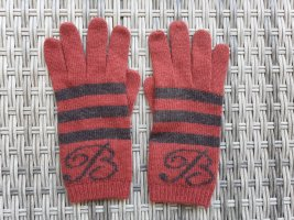 Blumarine Knitted Gloves dark red-black polyester