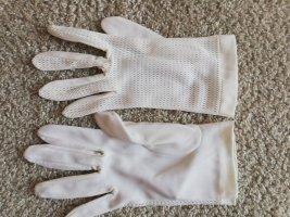 Original Vintage Siateczkowe rękawiczki biały-jasnobeżowy