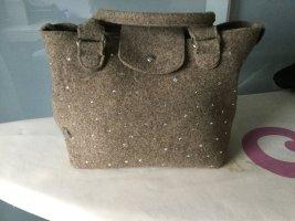 Handtasche aus beigem Wollfilz mit Strasssteinen, italienische Markenhandtasche von Bonfanti Model Feltro Strass Roma