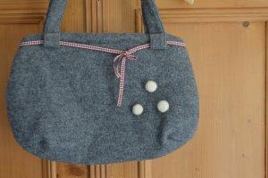 Handtasche, handgefertigt, aus Filz, Einzelstück, grau