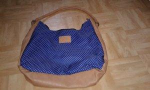 Handtasche marine/braun/weiß gepunktet