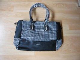 Handtasche, Marke: Aniston, , Tweed-Einsatz, Farbe: schwarz/weiß, neu, ohne Etikett