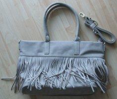 Handtasche mit Fransen von Boscha - hellgrau