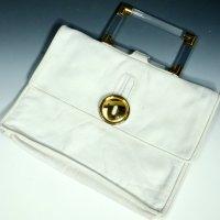 """Handtasche Vintage 70er Jahre """"G"""" made in Italy Leder weiss Tasche 27 x 20 cm"""