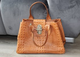 Börse in Pelle Handbag cognac-coloured