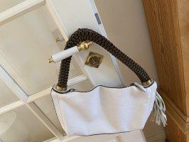 Handtasche Weiß Braun echtes Leder Sportlich Regalcrest Tasche Edel
