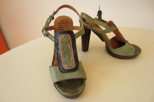 HARLOT - Flower Power High Heel Sandalette oliv grüntöne schwarz Gr.36