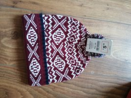 Alcott Chapeau en tricot blanc-bordeau