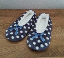 markenlos Pantoufles-chaussette bleu acier-blanc