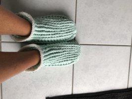 Handmade Pantoufles-chaussette gris vert