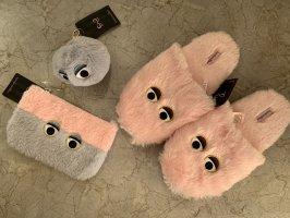Hunkemöller Sloffen roze-lichtgrijs