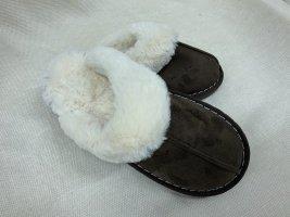 Ciabatta aperta talpa-bianco Pelliccia ecologica