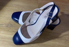 Heine Tacones sin talón blanco-azul Cuero