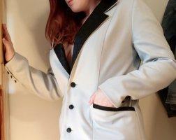 Hellblau-grau Oversized Blazer mit Leder-Einsatz und Futter