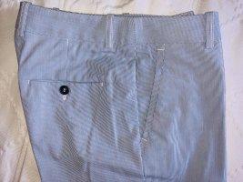 H&M pantalón de cintura baja blanco-azul aciano Algodón