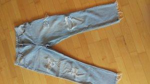 Jeansy typu boyfriend błękitny Tkanina z mieszanych włókien