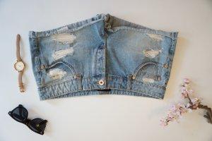 Hellblaue Hotpan used Look / kaputte Jeans Shorts Gr. 42