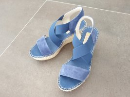 Sandalo con plateau blu fiordaliso-bianco sporco Tessuto misto