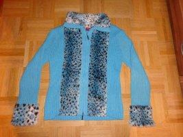 hellblaue Strickjacke mit besatz Leopard Dalmatiner Gr. L 38/40